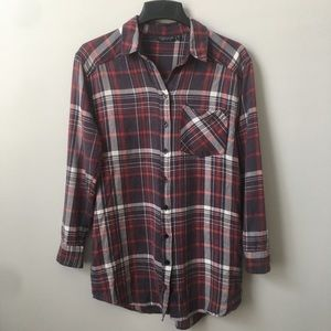 Topshop Faded Plaid Flannel With Side Pockets